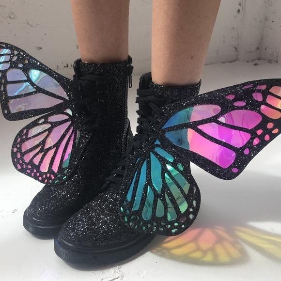 868dbb12c Dolls Kill Shoes | Last Club Exx Metamorphic Glitter Boots Butterfly ...